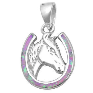 Horse Pendant Lab Pink Opal 925 Sterling Silver